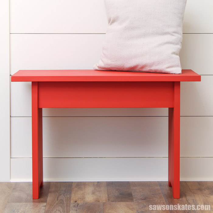 Simple DIY bench with a pillow