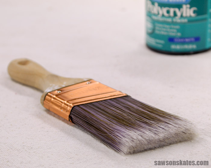 The best way to apply Polycrylic is with a synthetic bristle brush