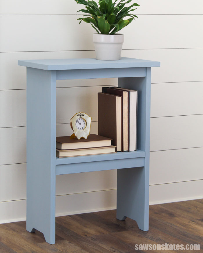 So easy! Build this simple wooden DIY side table with just 3 tools. The casual style and small size is perfect for nearly any room. Get the free plans now!