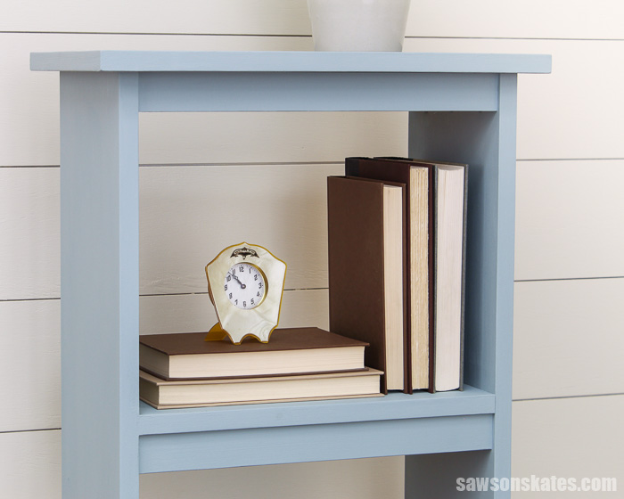 Books on a small DIY side table