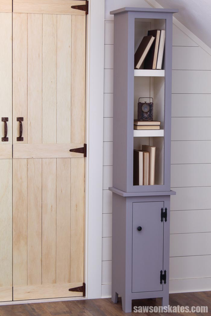 Need more storage? Build this DIY chimney cabinet! The mix of open and closed storage makes this tall, narrow bookshelf a great solution for any space.