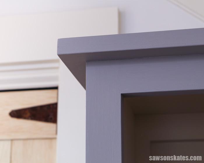 Top corner of a DIY chimney cabinet