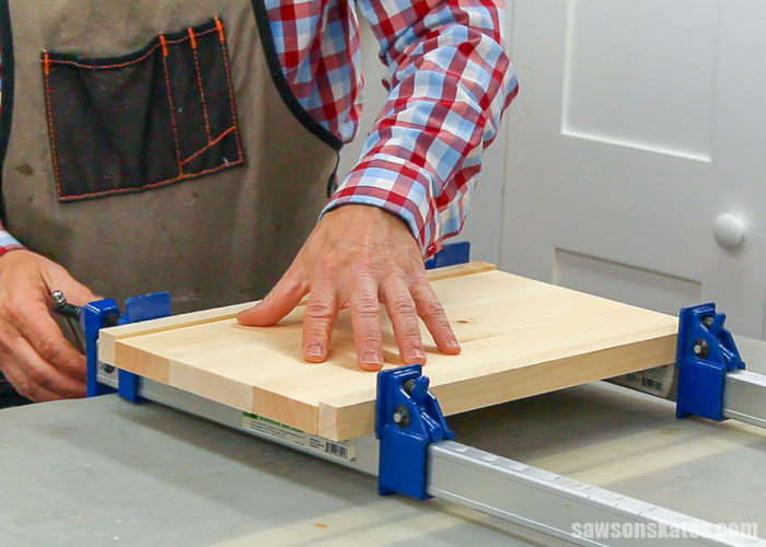 Gluing up the shelves of an easy to make DIY bookcase