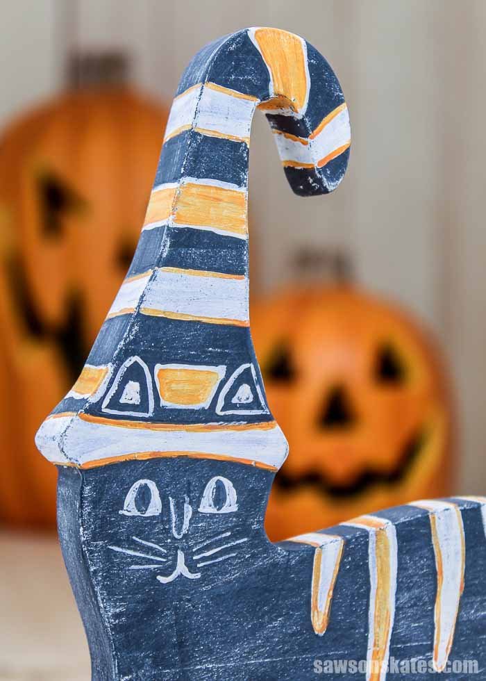 Closeup of a retro-style DIY Halloween cat decoration