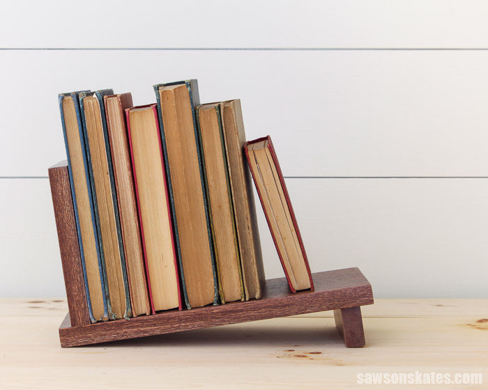 DIY book organizer full of books