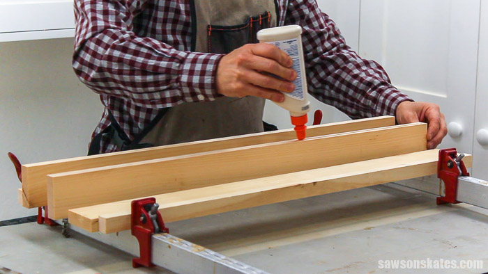 Gluing up side panels for a DIY display cabinet