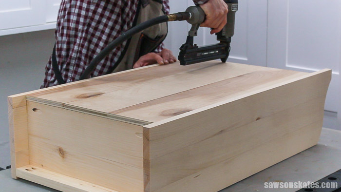 Attaching the back of a DIY display cabinet