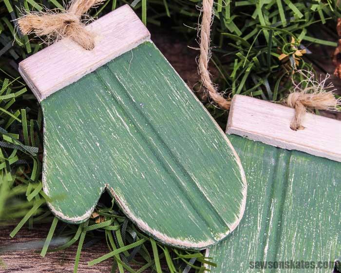 Green DIY wood mitten Christmas ornament