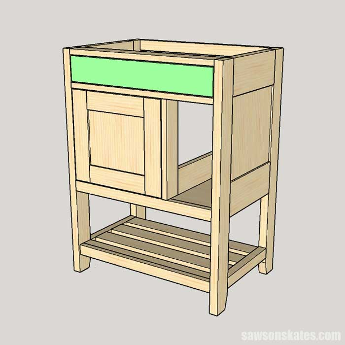 Attaching the drawer front to the drawer box in a DIY bathroom vanity