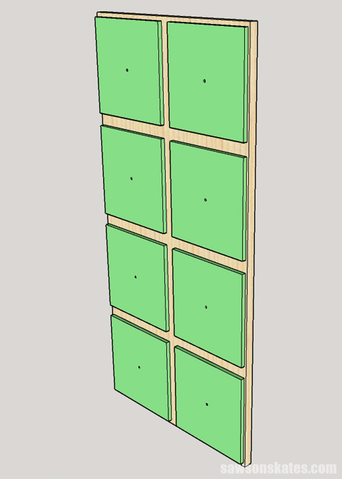 Sketch showing how to attach the faux drawers on the door for a DIY apothecary cabinet