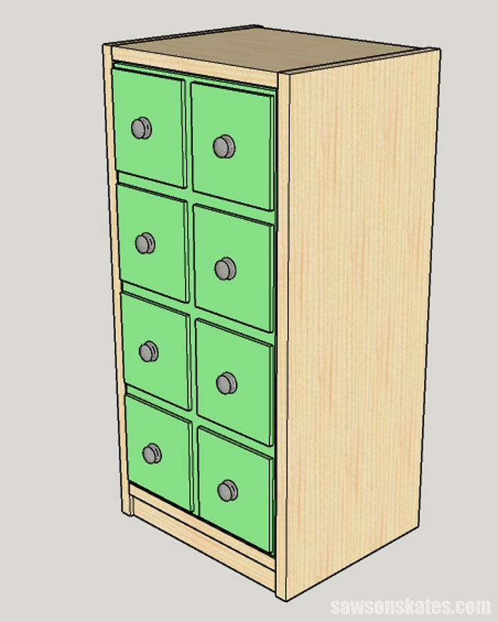 Sketch showing how to install the door on a DIY apothecary cabinet