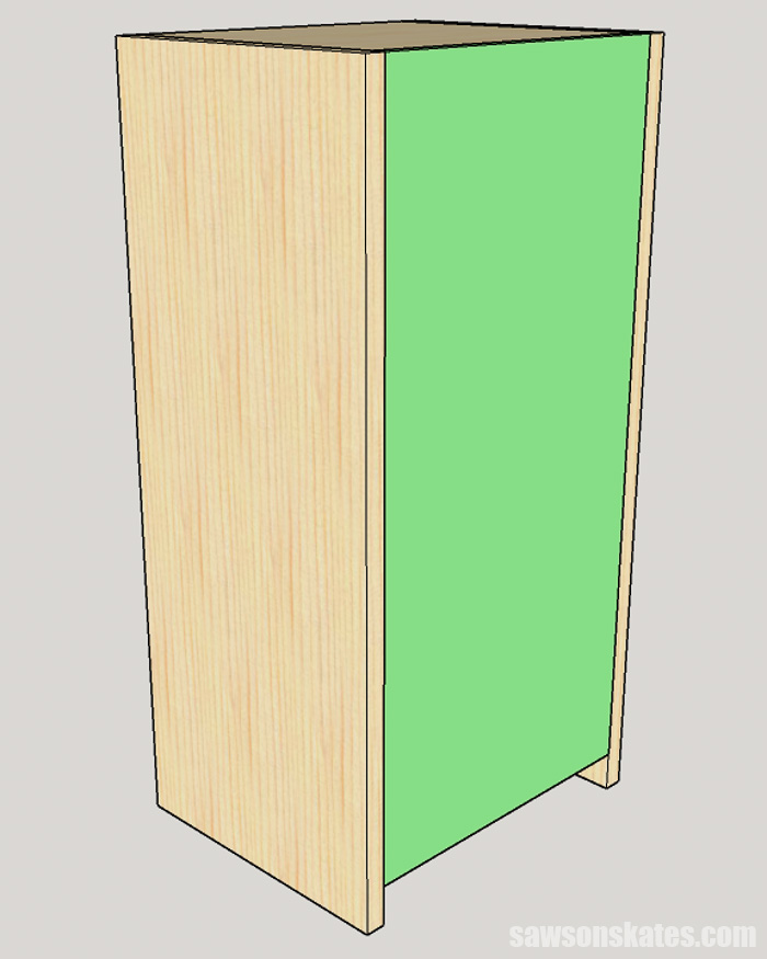 Sketch showing how to attach the back on a DIY apothecary cabinet