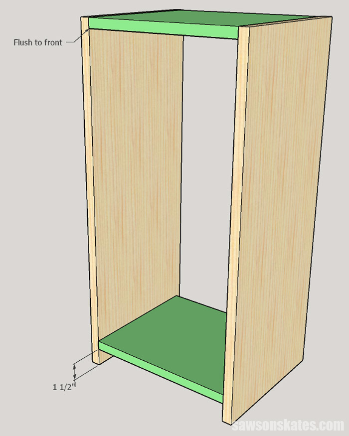 Sketch showing how to attach the top and bottom on a DIY apothecary cabinet