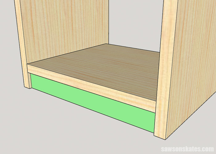 Sketch showing how to attach the bottom rail on a DIY apothecary cabinet