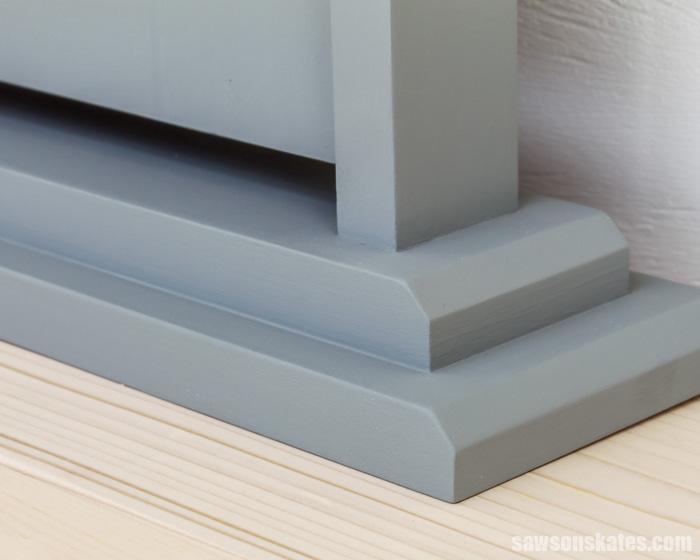 Base detail of a creative DIY tilting wood frame