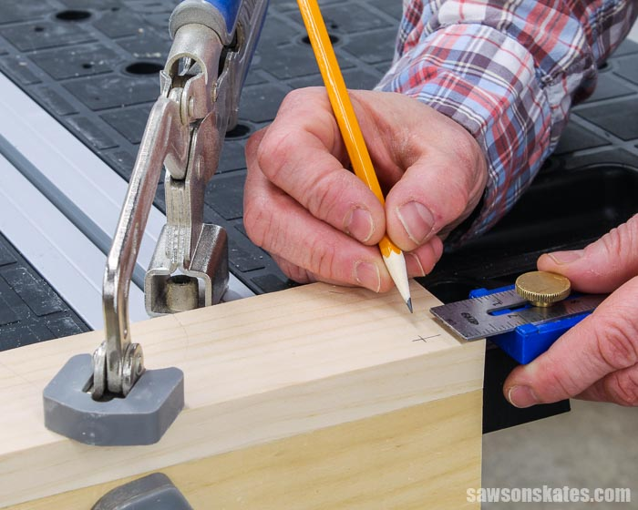 Marking the location to drill a counter sink hole with a fluted countersink bit