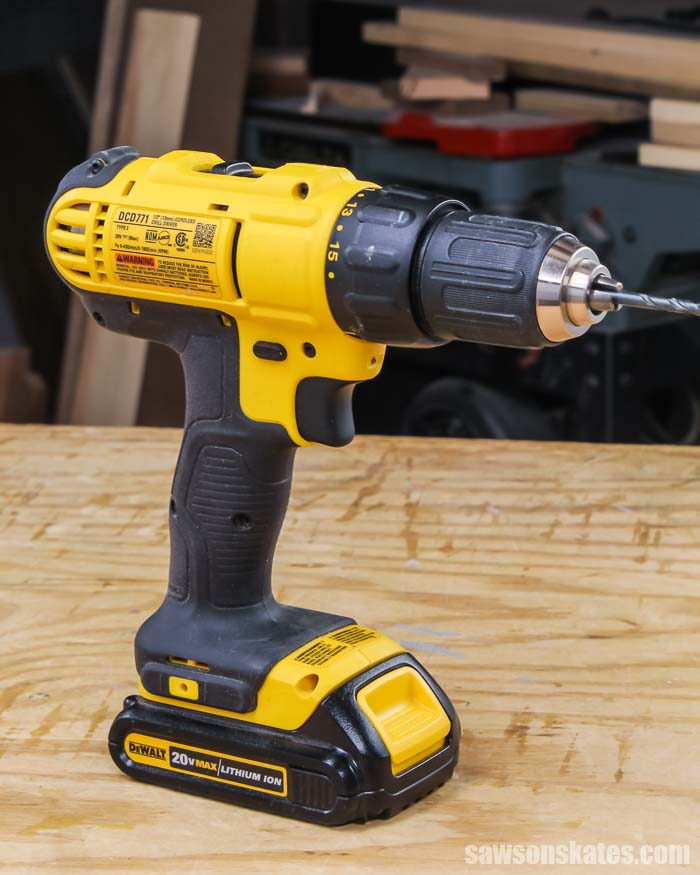 Drill on a workbench