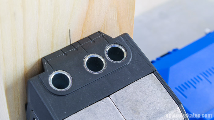 1×4 centered in the drill guide of a Kreg Pocket Hole Jig 720