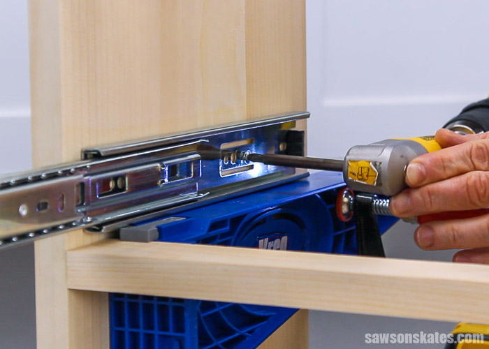 Installing drawer slide into a DIY bedside table with drawers