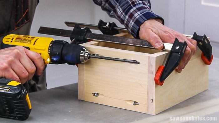 Assembling a drawer box for a DIY nightstand with drawers