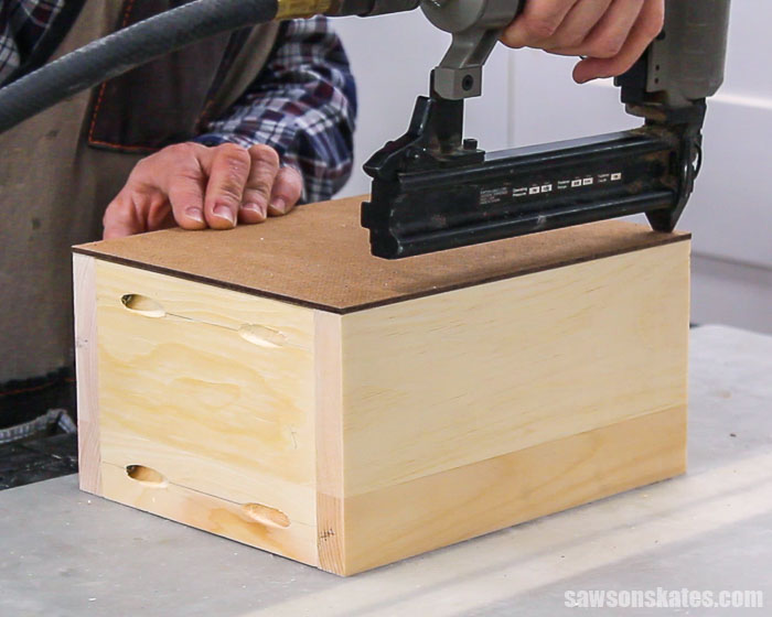 Attaching the bottom of a drawer box for a DIY nightstand with drawers