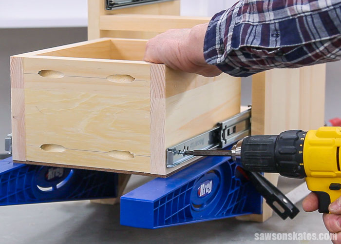 Attaching a drawer box to the drawer slides for a DIY nightstand
