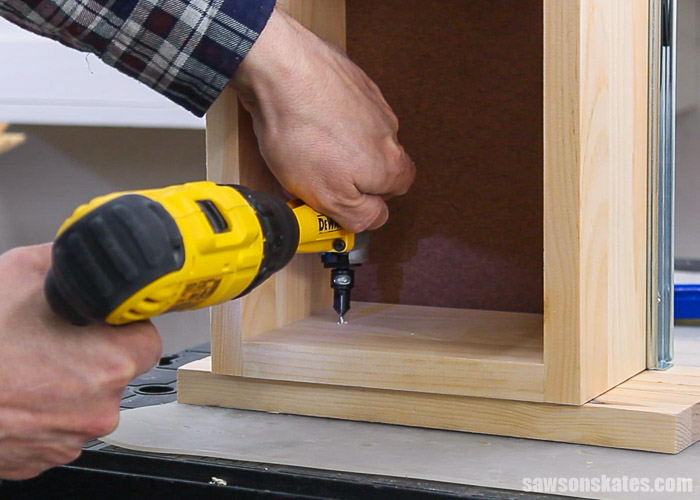 Drilling a countersink hole inside a drawer box for a DIY bedside table