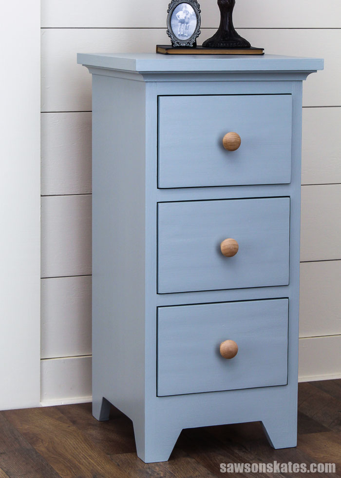 DIY bedside table with three drawers