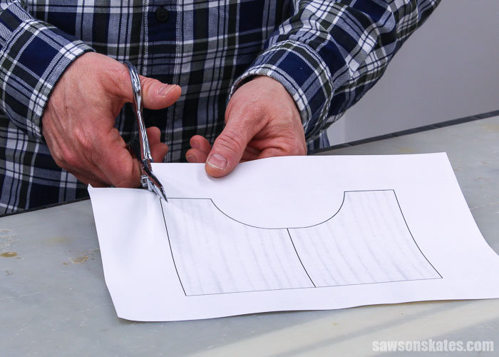Cutting a template for the leg detail of an antique-inspired DIY step stool