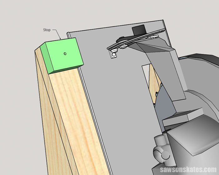 Sketch showing how to install a stop on a DIY circular saw storage rack