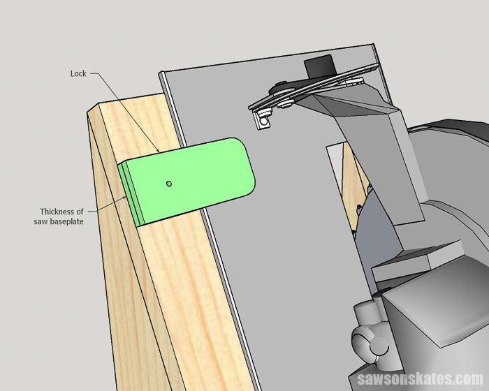 Sketch showing how to install a lock on a DIY circular saw storage holder