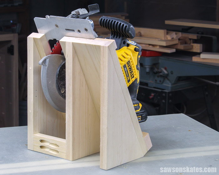 Back side of a DIY circular saw holder