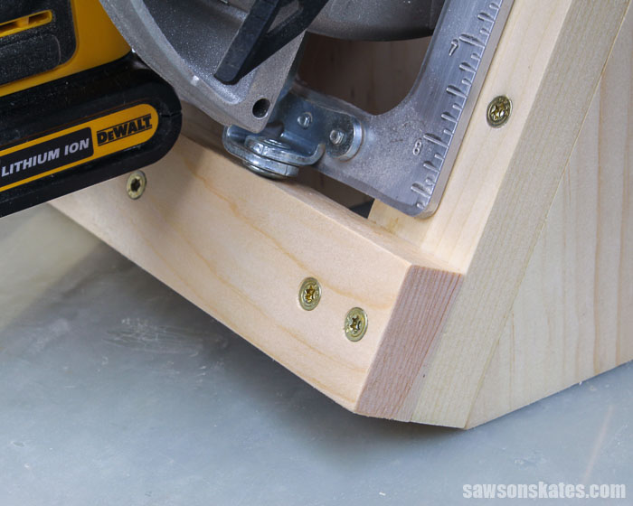 Close up detail of the cleat on a DIY circular saw storage rack
