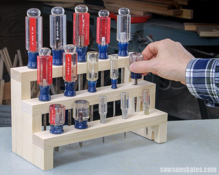 Get your screwdrivers organized with this DIY screwdriver holder. This storage rack is easy to make with a few pieces of scrap wood and these simple plans.