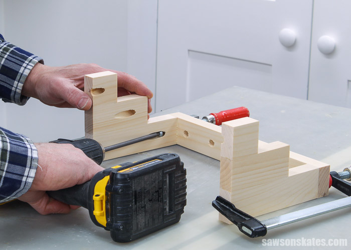 Attaching the shelves for a DIY screwdriver holder