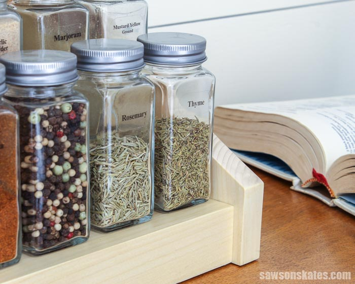 Bottom shelf of a DIY tiered spice rack