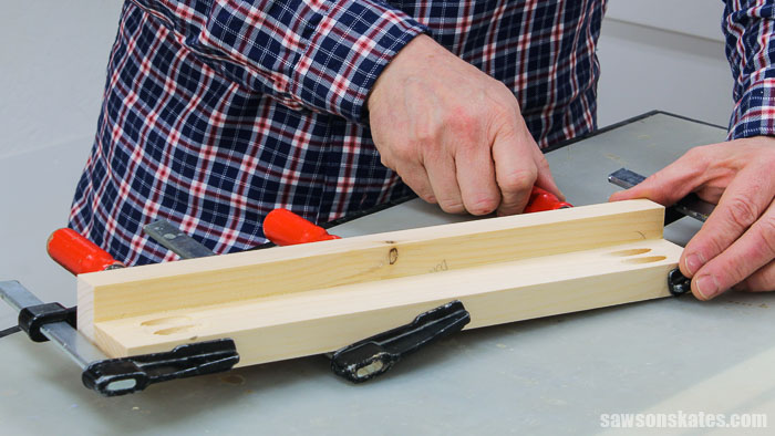 Clamping the first step of a DIY tiered spice rack