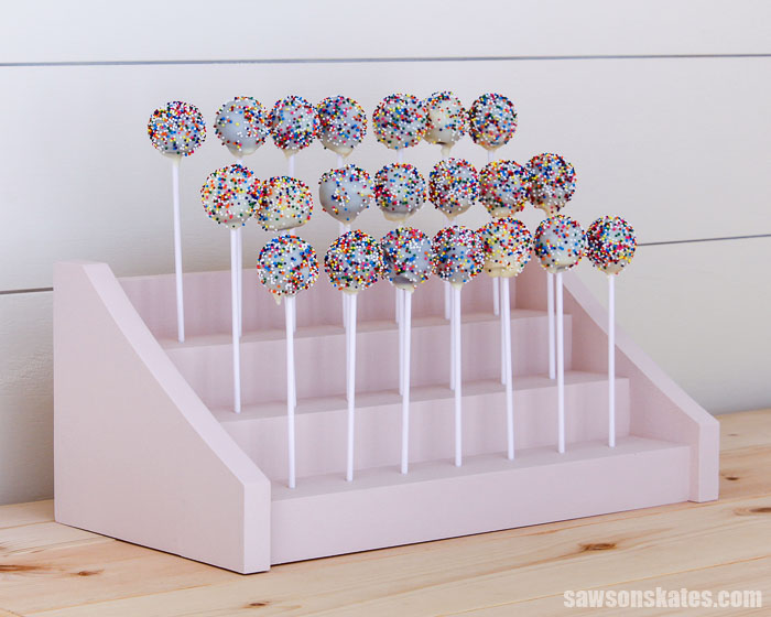 This wood DIY cake pop stand is an attractive way to display cake pops for any occasion. It's easy to make with a few common tools and these simple plans.