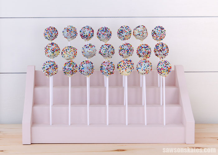 Front view of a 3-tier DIY cake pop holder