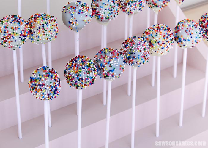 Cake pops displayed in a DIY cake pop stand