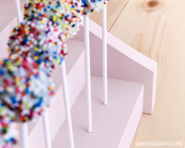 Corner detail of a DIY cupcake display