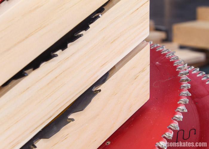 Closeup side view of a DIY saw blade storage holder
