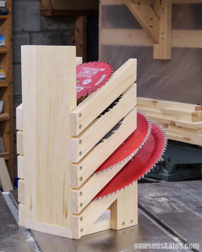 Back view of a DIY saw blade holder with five saw blades