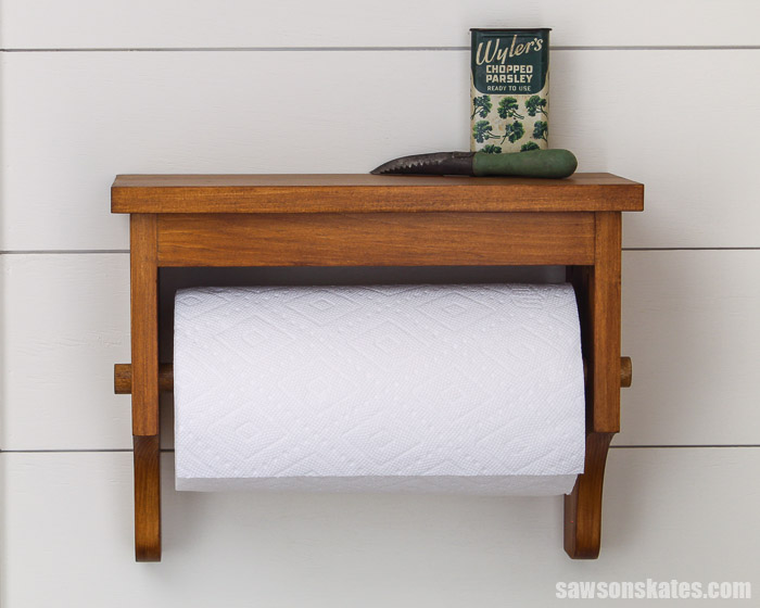 Front view of a wall-mounted DIY paper towel holder