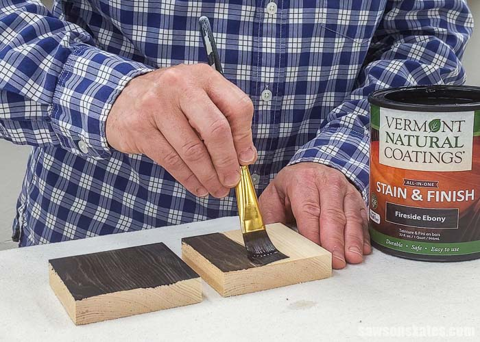 Applying stain and polyurethane in one to a sample with wood conditioner and another without