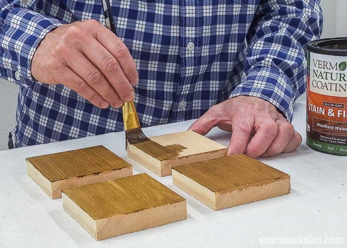 Applying stain and polyurethane in one to a sample with wood conditioner and thee other samples with DIY wood conditioner