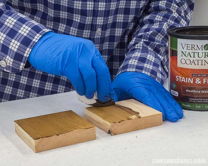 Applying stain and polyurethane in one with a rag