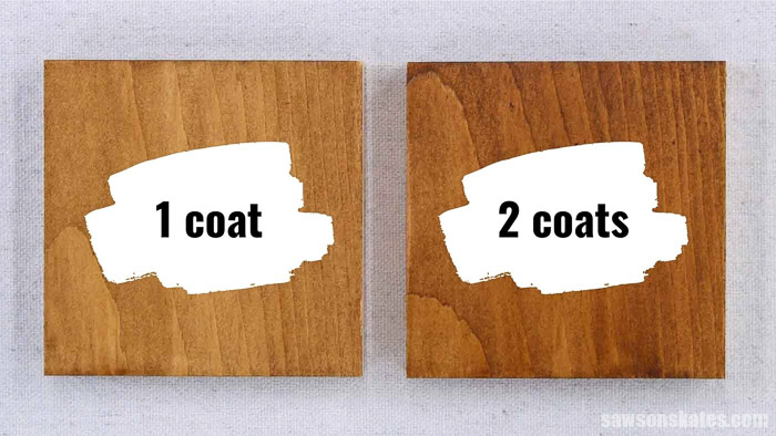Side by side comparison of applying 1 coat of stain and polyurethane in one vs apply 2 coats