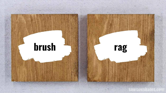 Side by side comparison of applying stain and polyurethane in one with a brush vs a rag