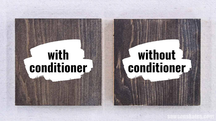 Side by side comparison of applying stain and polyurethane in one to a piece of wood with wood conditioner and another without
